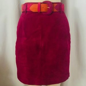 80's suede leather skirt